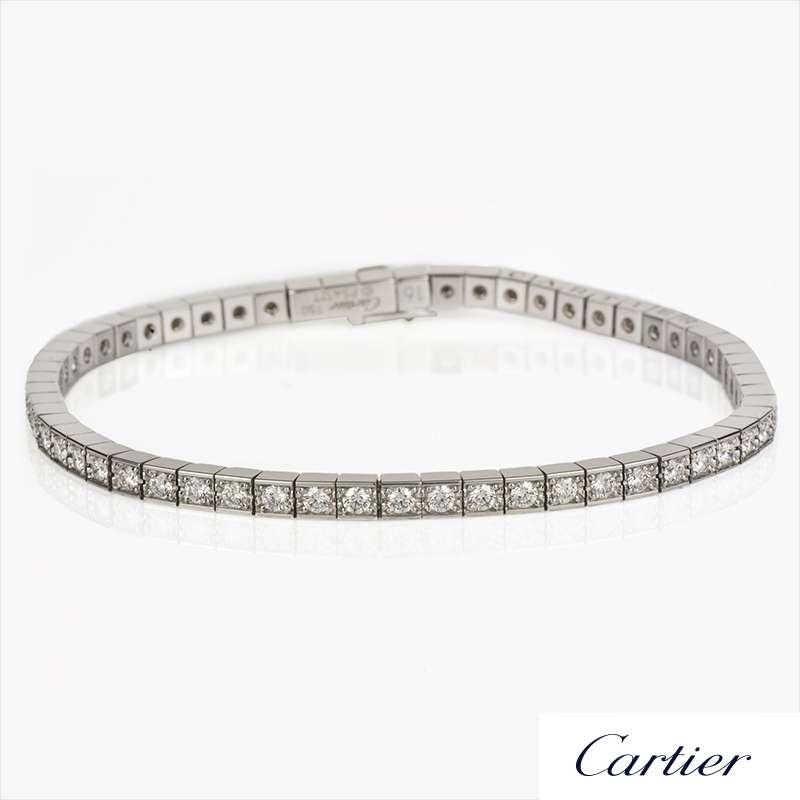 Cartier 18k White Gold Diamond Lanieres Line Bracelet Size 16